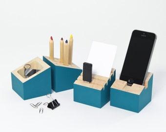 Organiseur bureau - Bois hévéa - Bleu lagon - Porte carte - Pot à crayons - Dock support téléphone