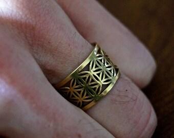 Blume des Lebens-Ring Messing / Silber beschichtet, verstellbarer Ring für Männer und Frauen, Heilige Geometrie-Ring
