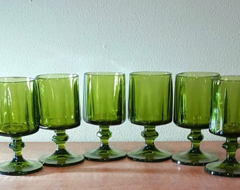 Wine Glasses~Colony Nouveau Avocado Green Glass Goblets~Green Glass Wine Glasses~Avocado Goblets Set of 6
