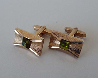 Vintage 1970's Brushed Gold Tone & Green Glass Cuff Links Retro Cufflinks
