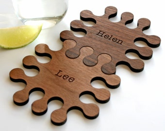 Jigsaw Coasters - Engagement gift - interlocking wooden Coasters - Wedding Gift for couple - Five year Anniversary gift - wood placemats