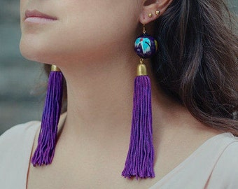 Purple Tassel Earrings, Purple Statement Earrings, Wood Bead Earrings, Long Tassel Earrings, Bohemian Earrings, Fringe Earrings