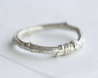 Silver twig ring, twig wedding ring, cherry tree ring, nature ring, nature jewellery, woodland jewellery