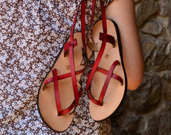 Leather sandals women, Red leather sandals, barefoot sandals, women, flat sandals, strap sandals, adjustable, comfort sandals