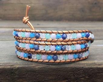Pink and Blue Triple Leather Wrap Bracelet // Triple Wrap Bracelet // Beaded Bracelet // Gemstone Wrap // 3x Leather Wrap Bracelet