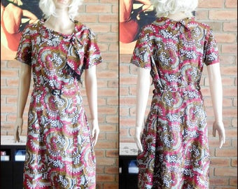 Demi by Janelle of Melbourne vintage 1960s knee length tea dress with belt, faux scarf, marked size 18 1/2
