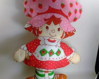 "Vintage Handmade Strawberry Shortcake Pillow Doll/17"" By 11"" Wide/Colors Still Bright and Viberant/Excellent Condition (M)"