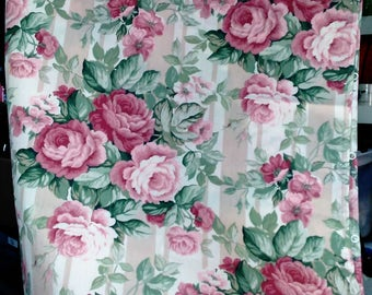 Handmade 2 Panels Or Roman Style Curtains/20 Rings On Each Panel Sewn In/Ruffles At the Bottom/Large Rose Motif/Never Used See Details N
