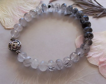 AAA Grade Tourmalinated Quartz Gemstone Faceted Rondelle Bead Stretchy Bracelet ~ Sterling Silver Accent ~ Small Medium Wrist Size