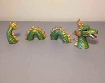 Ceramic Loch Ness Monster, Nick Knack, Fantasy, Child's Gift,  Unique Cake Topper,  Gift,