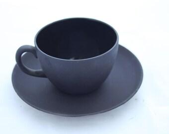 Vintage Wedgwood Basalt Black Teacup and Saucer - Black Teacup, Matte Black Teacup, Wedgwood Teacup, Black Wedgwood, English Teacup
