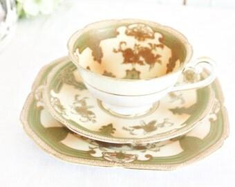 Vintage Noritake Teacup Trio - Green Teacup, Hand Painted Teacup Trio, Pretty Teacup, Japanese Teacup, Gold Teacup, Vintage Teacup