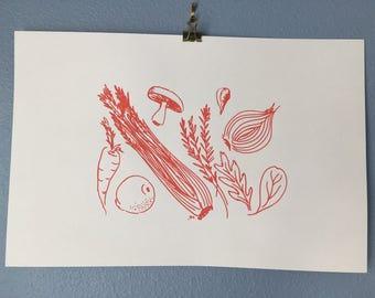 Handmade Screen Print of Vegetables