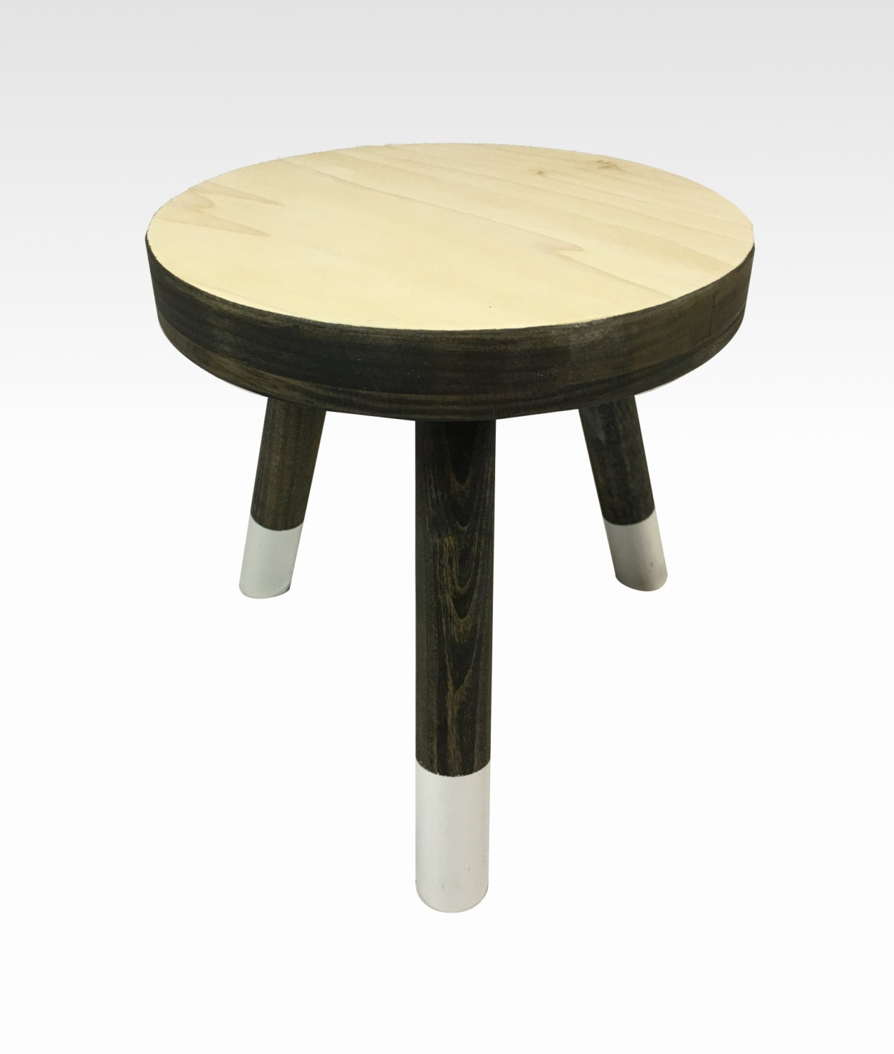 Small Wood Three Legged Stool Modern Plant Stand In Charcoal