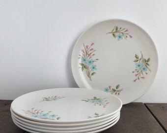 Vintage Melmac Plates - Set of 6 Stetson Melamine Salad/Dessert Plates, Stetson Melmac Plate Set