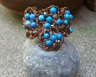 "Blue Magnesite Bracelet, Handmade- Antique Bronze Design (L- 8.5"")"