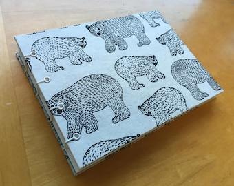 Winter Bears Sketchbook // Handmade Notebook // Coptic Stitch Journal // Hardcover // White, Black, Blue // Unique Gift Under 10