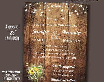 Sunflower mason jar Wedding Invitation, Barn Wedding invitation, Rustic wedding invite, Instant Download Self Editable PDF file A088-A225