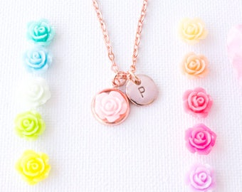 Rose gold plated rose necklace, custom necklace, rose, custom necklace, resin necklace, rose, initial jewellery, custom jewelry, RGPROSE0117