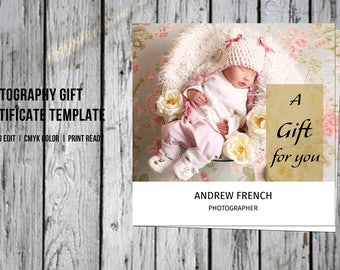 Photoshop Photographer Gift Certificate Template | Photography Gift Card | Photography Marketing | Instant Download