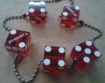 Red Plastic Dice Charms x5