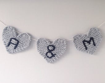 hand knitted heart bunting