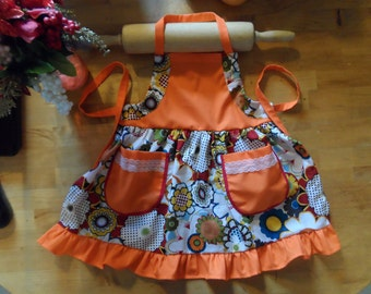 Orange and Flower Girl Apron, Kids Apron, Toddler Apron, Child Apron, Cooking and Baking apron for little girl
