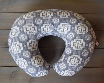 Boppy Cover Replica Gray Aztec -- Tribal Breastfeeding Pillow Slipcover Gender Neutral