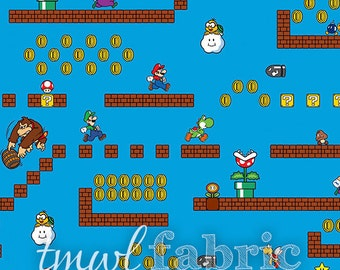 Woven Fabric - Nintendo Super Mario Game Scenes - Fat Quarter Yard +