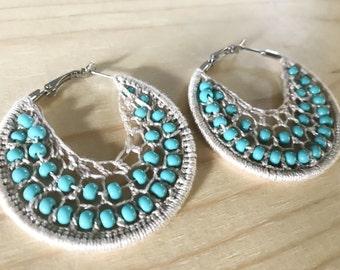 Turquoise earrings, blue hippie jewelry, woven hoop earrings, boho earrings, Turqoiuse bead earrings,blue woven earrings, blue woven hoops