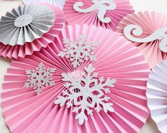 Winter Onederland Party - Onederland Party - Onederland Birthday - Snowflake decoration - Paper Rosettes - Paper Fans - Paper Pinwheels