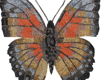 No Background Butterfly Bright Handmade Home Decoration Marble Mosaic AN1014