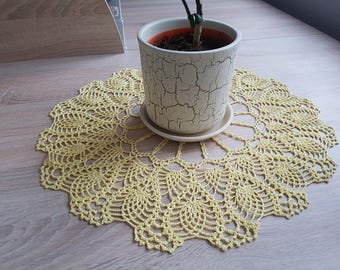 Crochet Round Doily Yellow Crochet Centerpiece Home Decor Table Decor made in Lithuania  housewares