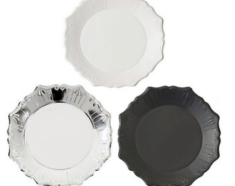 Paper Plates, Silver, Black and White, Party Plates, Black and White Party, Silver Foil, Disposable Plates, 25th Anniversary, New Year's Eve