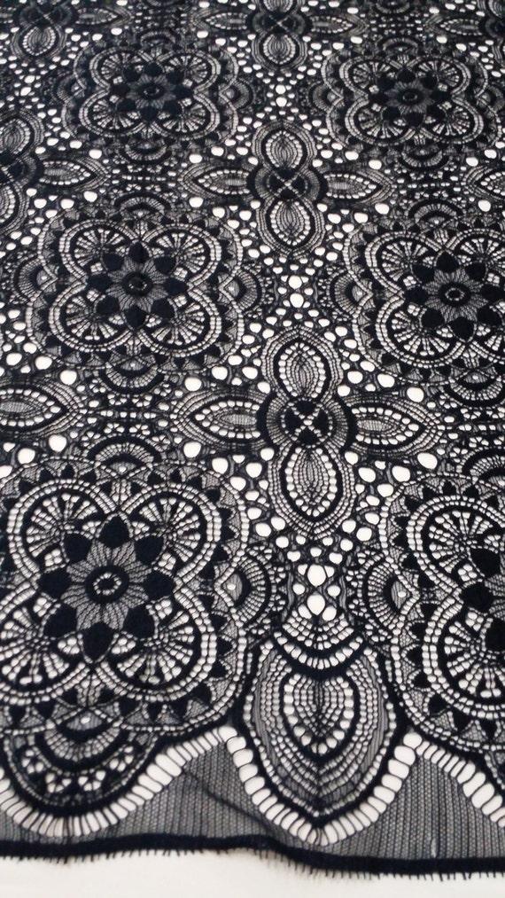 Black lace Fabric, French Lace, Wedding Lace, Bridal lace, black Lace, Chantilly Lace