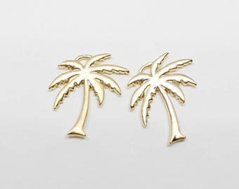 P0597/Anti-Tarnished Matt Gold Plating Over Brass/Flat Palm Tree Pendant/11x13mm/2pcs