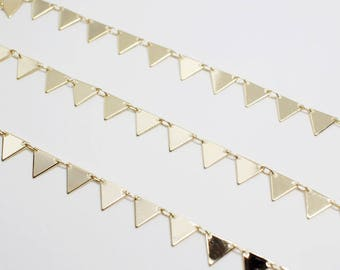 N0040/Anti-Tarnished Gold Plating Over Brass/Triangle Chain/7mm/1yard