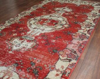 Vintage oushak rug, cream and red color rug, Pastel Color Rug Muted Color rug Medallion Design Turkish rug ,6x4 beige rug, Vintage Rug, 9327