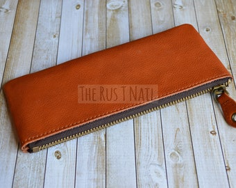 FREE SHIPPING - Genuine Leather Mini Clutch - Cognac Leather Change Purse -  Leather Coin Pouch