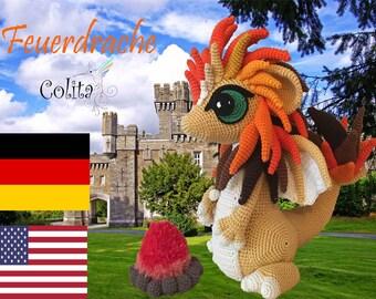 Feuerdrache crochet Anleitung Deutsch - English