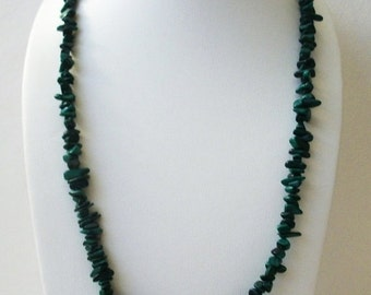 ON SALE Vintage Green Turquoise Stone Chips Very Long No Clasp Necklace 12817