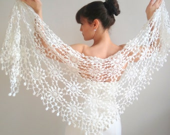 White wedding shawl,  ivory wrap,  crochet lace shawl,  evening shawl,  wool shawl,  winter wedding,  ready to ship,  fast shipping