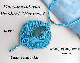 "Macrame tutorial ""Princess"" pendant"