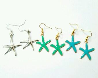 Starfish earrings, starfish jewelry, seastar earrings, seastar jewelry, ocean earrings, ocean jewelry, seaside earrings, seaside jewelry