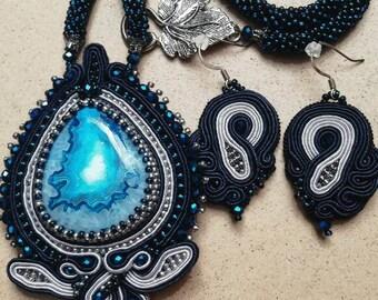 """Soutache necklace """"Heart of the Ocean, earrings."""