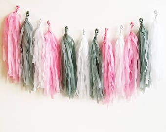 Tissue Tassel Garland, Fringe Banner, Party Decor, Wall Hanging Decorations, Nursery Decor, Party Garland, Home Decor, Fully Assembled