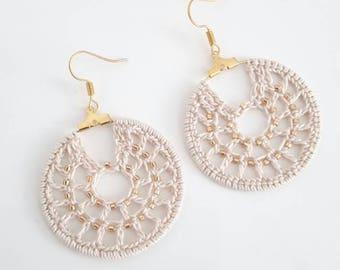 Crochet earrings, hoop earrings, women earrings, crochet jewelry, delicated earrings, coton earrings, crochet beads earrings, women gift