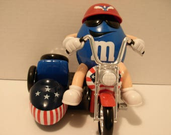 M & M Candy Dispenser,Freedom Rider, Mr Blue on his Motorbike, Free Shipping