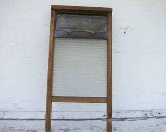Antique National Glass Washboard No.180 Primitive Laundry Farmhouse Style Rustic Gift for Home Collector