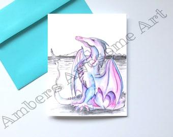 Purple Dragon customizable greeting card